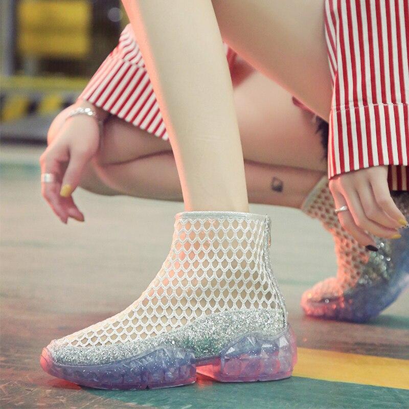 Mesh Transparent Heels Sneakers Women Summer Flats Platform Sandals Outdoor Fashion Shoes White