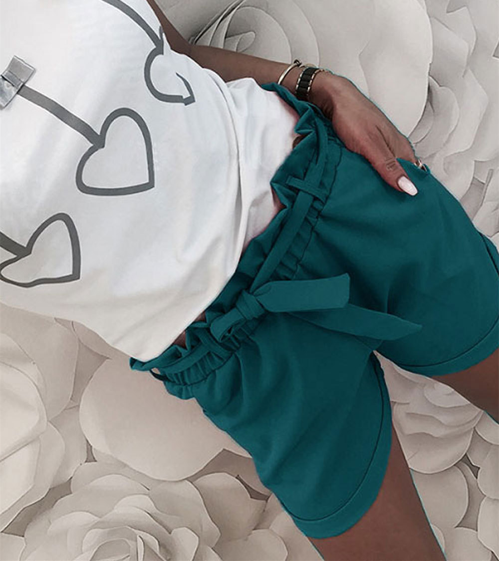 Casual Summer Bandage Mid-waist Bottoms Women Shorts Solid Pleated Chic WS9186R