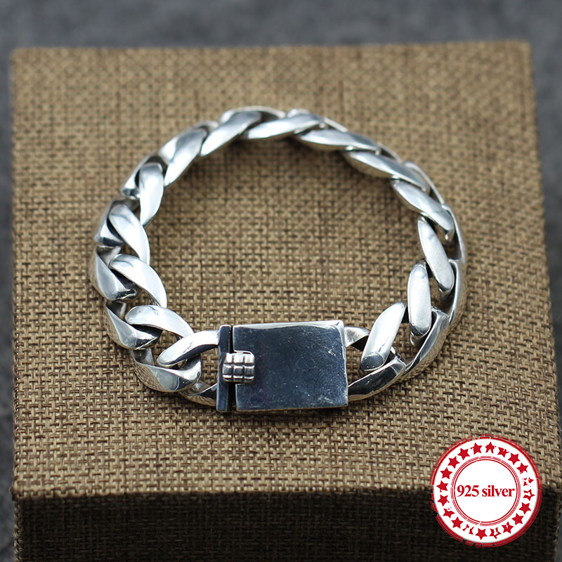 S925 sterling silver men's bracelet personalized retro classic punk style minimalist smooth hip-hop fashion gift to send lover форма для выпечки taller прямоугольная с антипригарным покрытием 36 5 х 23 см