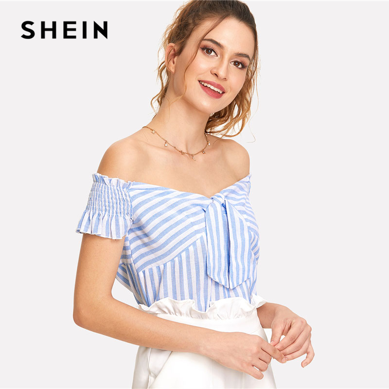 9051b203581255 SHEIN Knot Front Shirred Ruffle Sleeve Bardot Top 2018 Off the Shoulder  Flounce Sleeve Striped Clothing Woman Vacation Blouse-in Blouses   Shirts  from ...