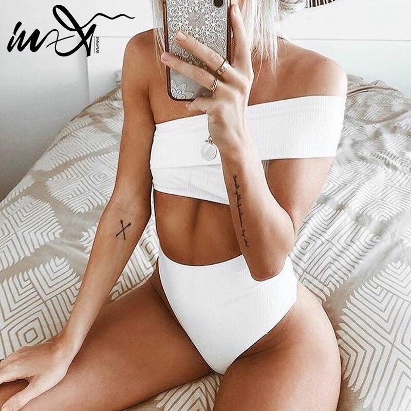 In-X One Shoulder White Bikini 2019 New High Waist Swimsuit Female Vintage Push Up Swimwear Sexy Bathing Suit Women Beach Wear