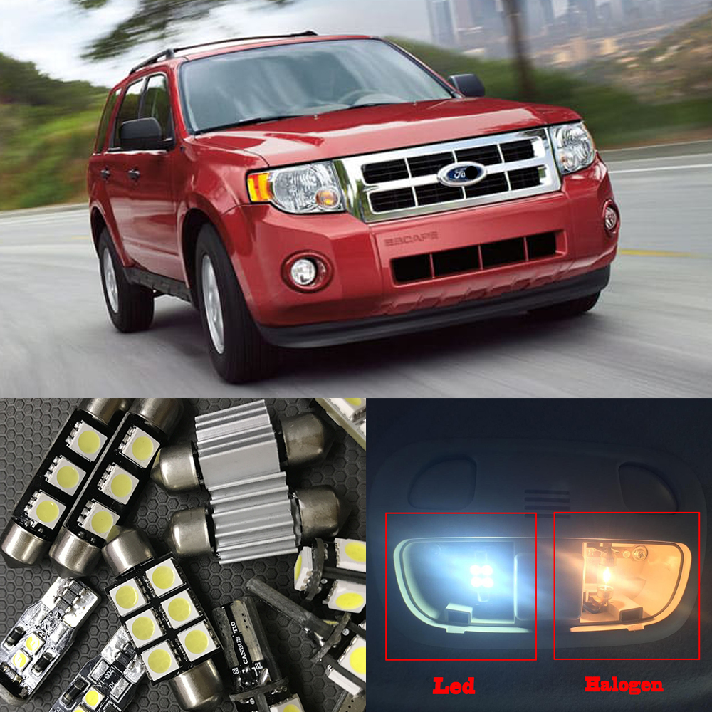 12x white car led light bulbs interior kit canbus for 2006 2012 ford escape led
