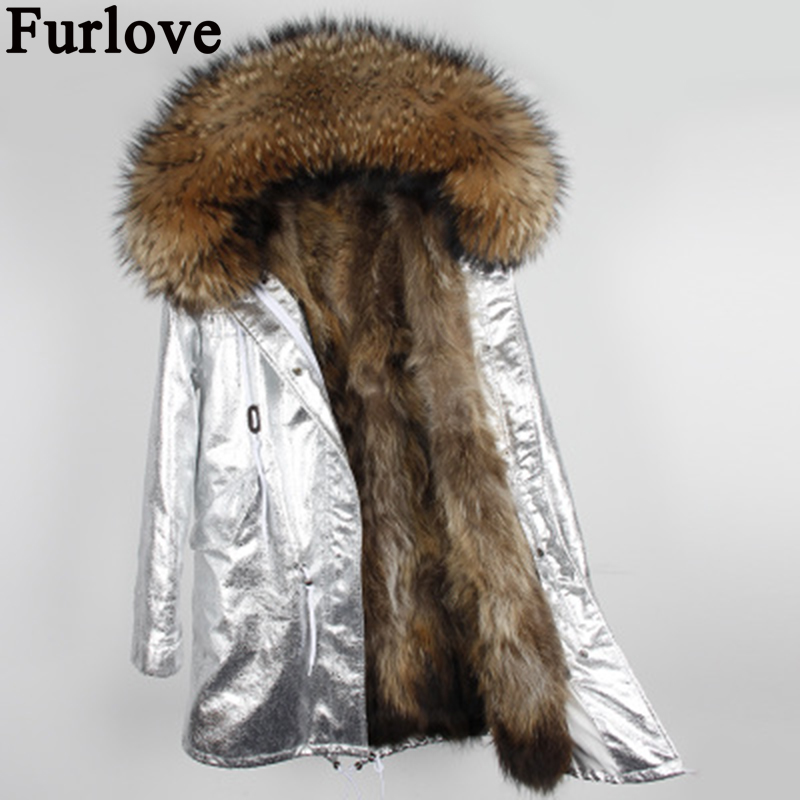 Furlove 2017 new fur parkas winter jacket women parkas big real raccoon fur collar natural fox fur liner long outerwear coat 2017 winter new clothes to overcome the coat of women in the long reed rabbit hair fur fur coat fox raccoon fur collar