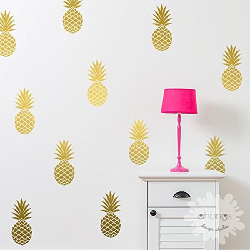Abacaxi decalque da parede grande 15 abacaxis adesivo/decoração de casa festa decoração berçário decalque da parede mural (8