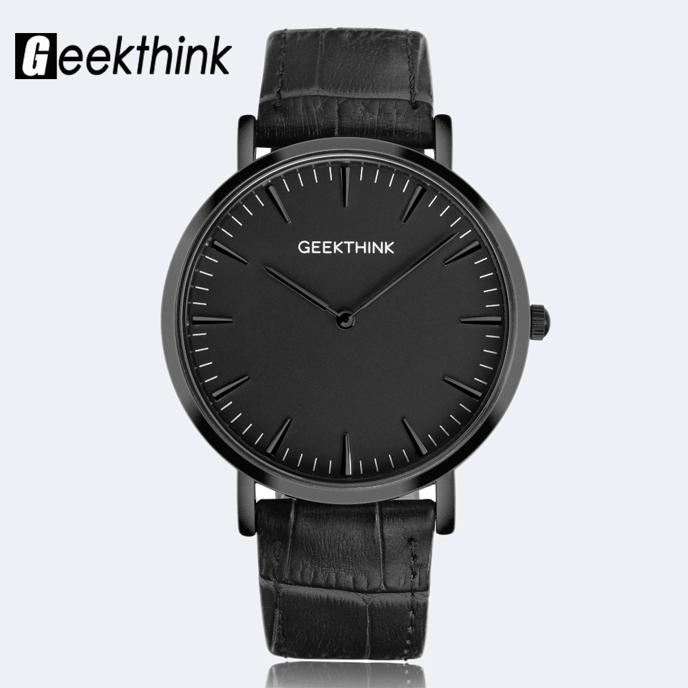 GEEKTHINK Minimalistiska Top Brand Luxury Quartz Watch Män Business Casual Svart Japan Quartz Watch Äkta Läder Ultra Tunna Klocka
