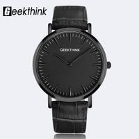 GEEKTHINK Minimalist Top Brand Luxury Quartz watch men Business Casual Black Japan quartz watch genuine leather ultra thin clock