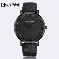 GEEKTHINK Minimalist Top Brand Luxury Quartz Watch Men Business Casual Black Japan Quartz Watch Genuine Leather