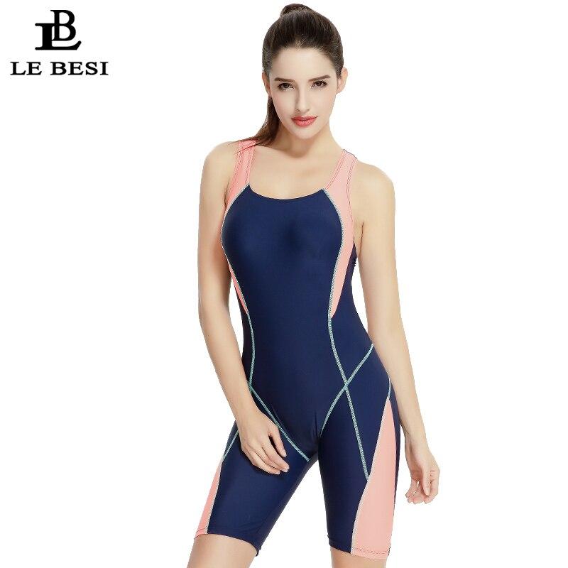 ФОТО LE BESI 2017 New One Piece Swimsuit Professional Sports Women's Swimwear Competitive Swimming Suit Solid Bodysuit Print Monokini