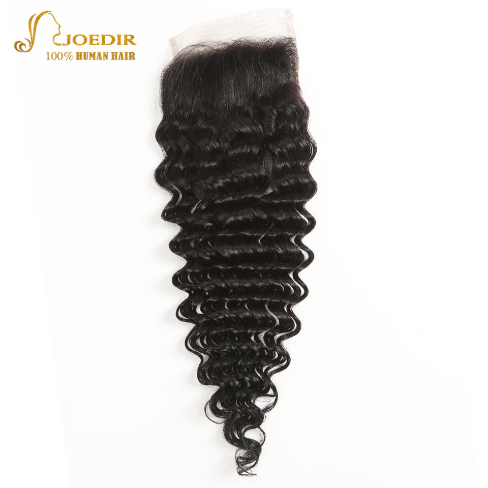 Joedir Hair Closure Brazilian Loose Deep Wave Hair 4*4 Lace Closure 10-20 Inch Remy Human Hair Swiss Lace Closure Free Shipping