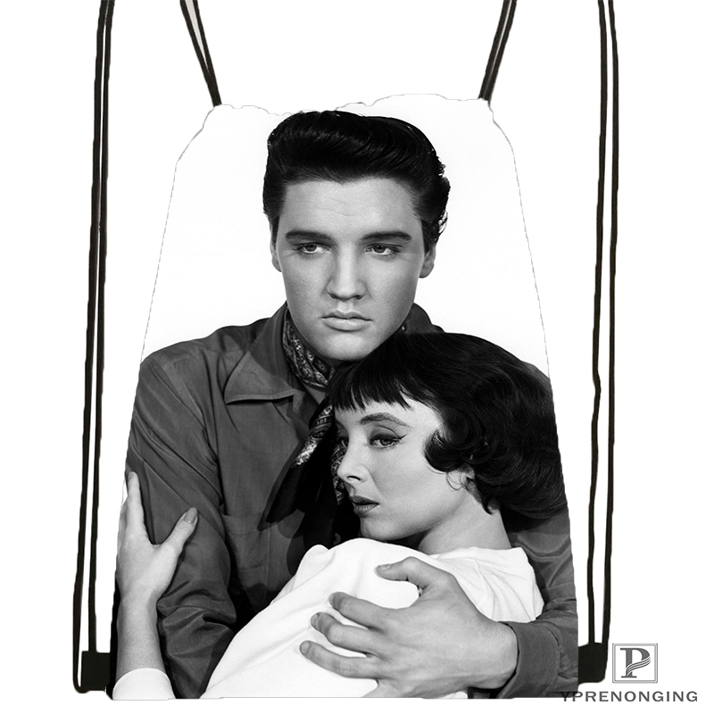 Custom Presley Elvis Drawstring Backpack Bag Cute Daypack Kids Satchel (Black Back) 31x40cm#180531-03-07