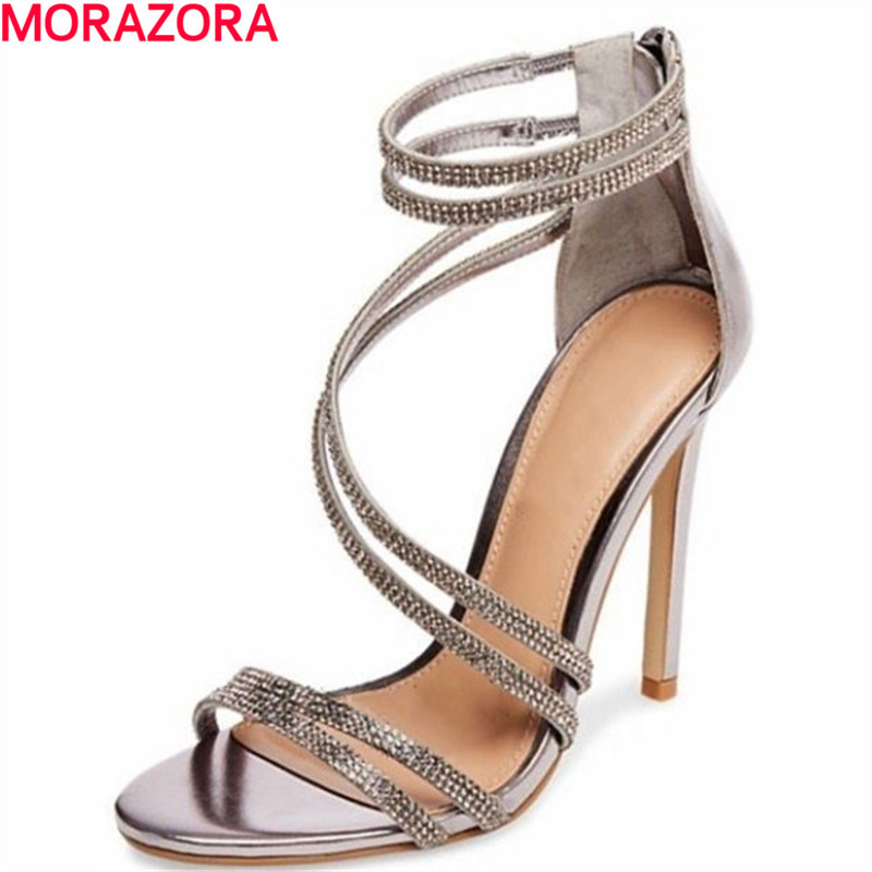 MORAZORA new summer fashion party rhinestone sexy women 11cm high heels sandals buckle top quality wedding shoes
