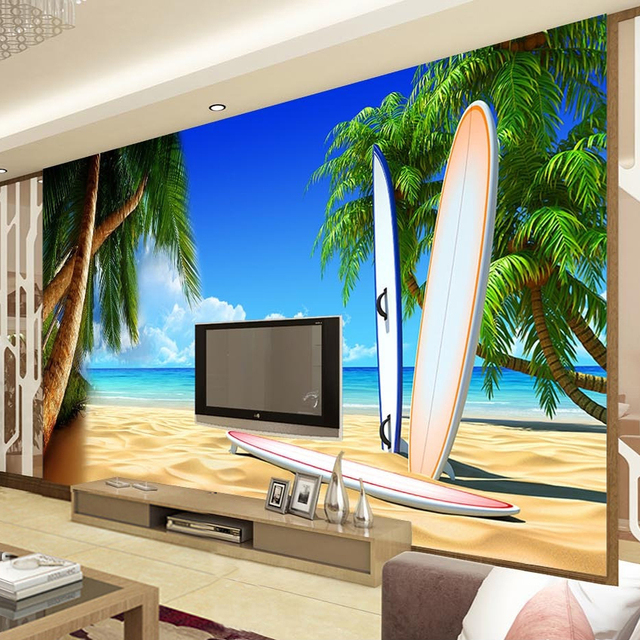 Custom 3D Room Wallpaper Landscape Seaside Scenery Wall Mural For Walls  Beach Trees Surfboard Wall Paper Part 82