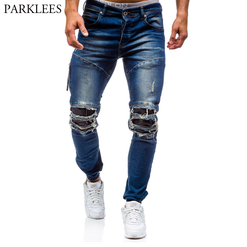 Blue Ripped Jeans Men 2017 Brand Washed Cotton Jeans Pants Male Casual Slim Fit Men Pencil Pants Skinny Mens Zipper Jeans Homme skinny jeans men 2017 brand washed ripped jeans men casual slim fit mens biker jeans hip hop hipster zipper jeans pants homme