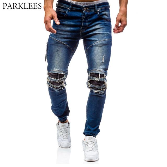 48bceda10a Pantalones vaqueros rasgados azules para hombre 2017 pantalones vaqueros de  algodón lavados de marca para hombre
