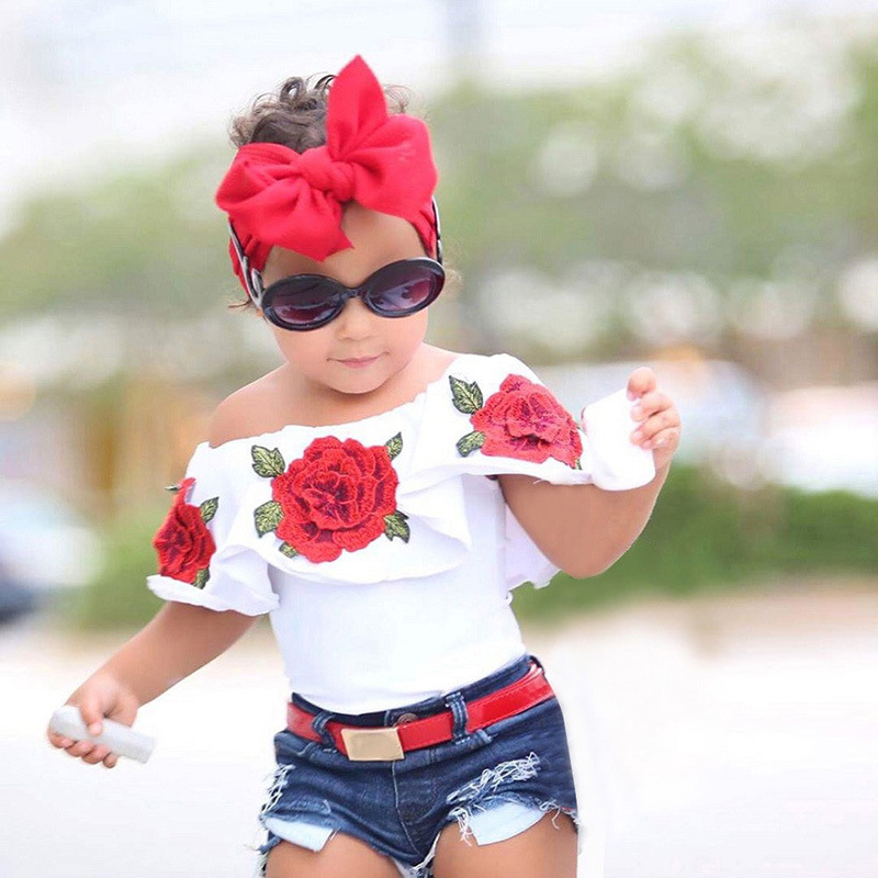 Ins hot style children's clothing hot summer girls set Kids rose shoulder shirt with jean shorts outfit Free shipping 1