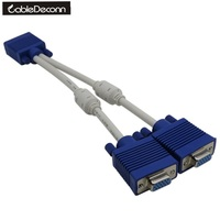 High Quality 1 Computer To Dual 2 Monitor Vga Splitter Cable Video Y Splitter 15 Pin