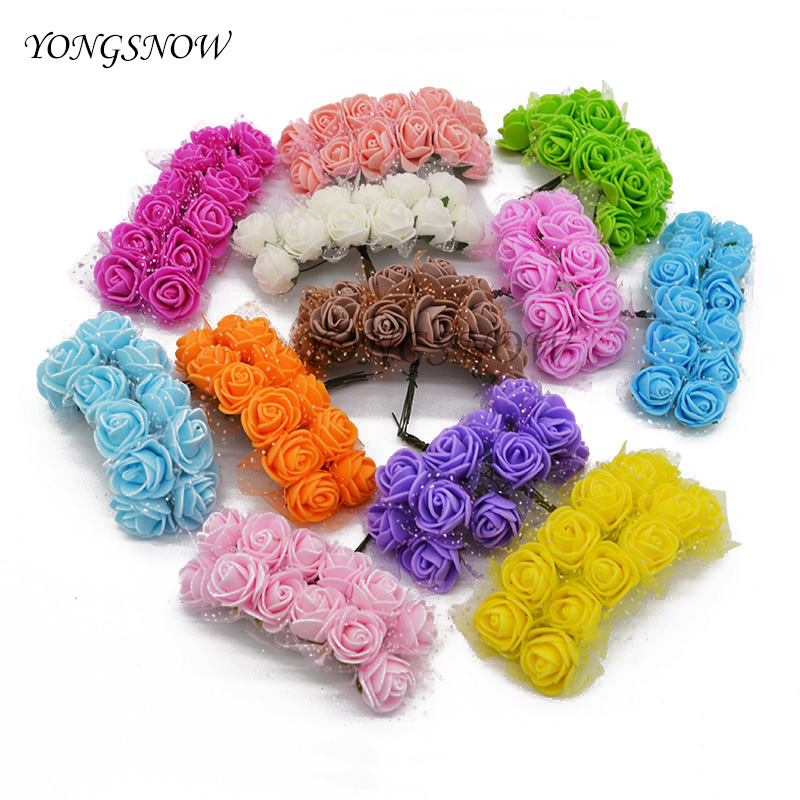 12pcs 2.5cm Mini Foam Rose Artificial Silk Flower Bouquet Wedding Flowers Decoration Home Garden Decorative Wreath Supplies 7Z