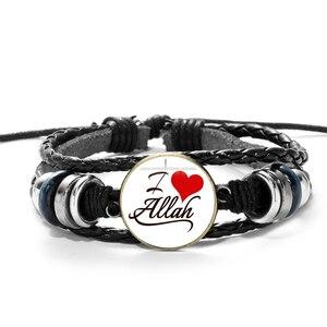 Image 2 - SIAN Arabic Muslim God Allah Charm Bracelet Multilayer Black Punk Leather Bracelets Men Women Islamic Quran Arab Classic Jewelry