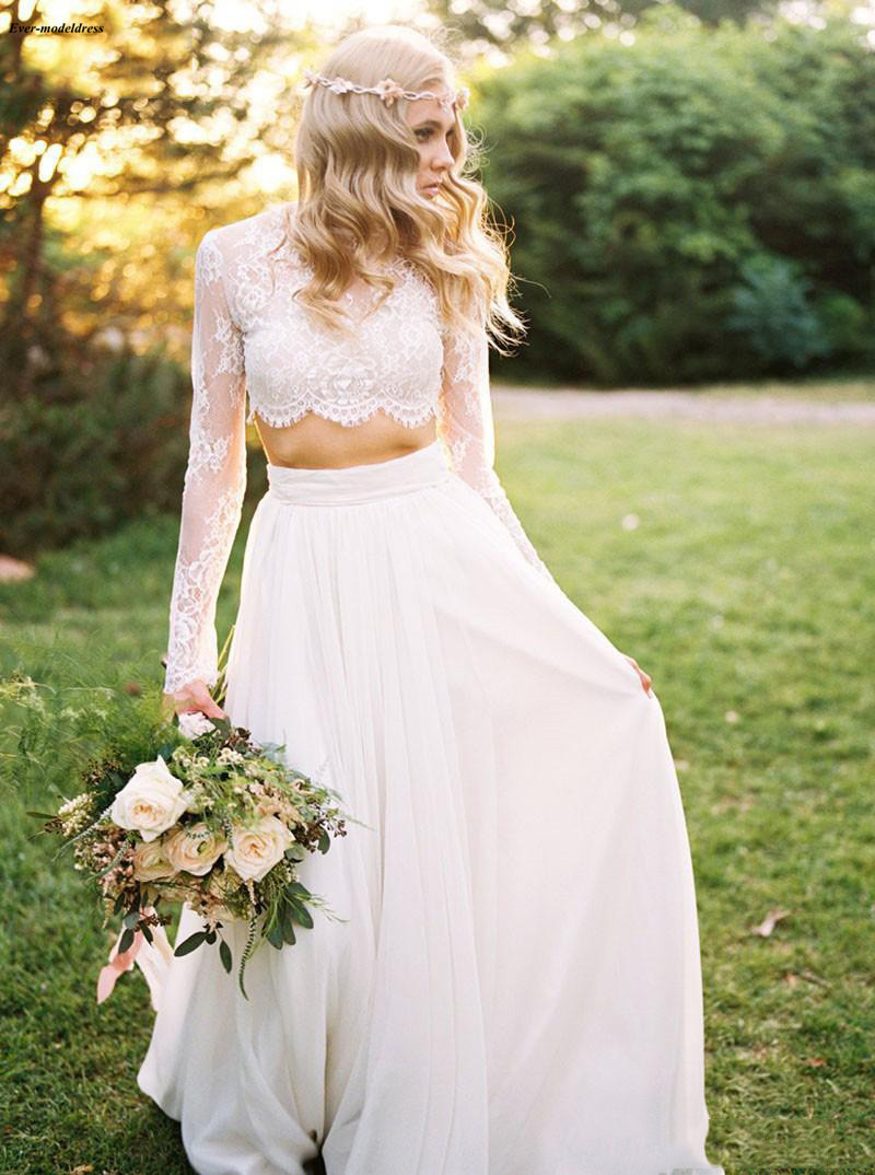 Nice Two Piece Lace Chiffon Long Sleeves Bohemian Wedding Dresses 2019 O-neck Simple Country Wedding Gowns Cheap Vestido Boda Playa Fast Color