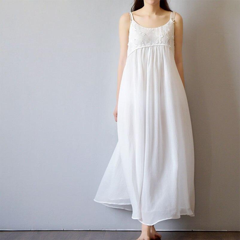 2017 Summer Spaghetti Strap Beach Dress Long White