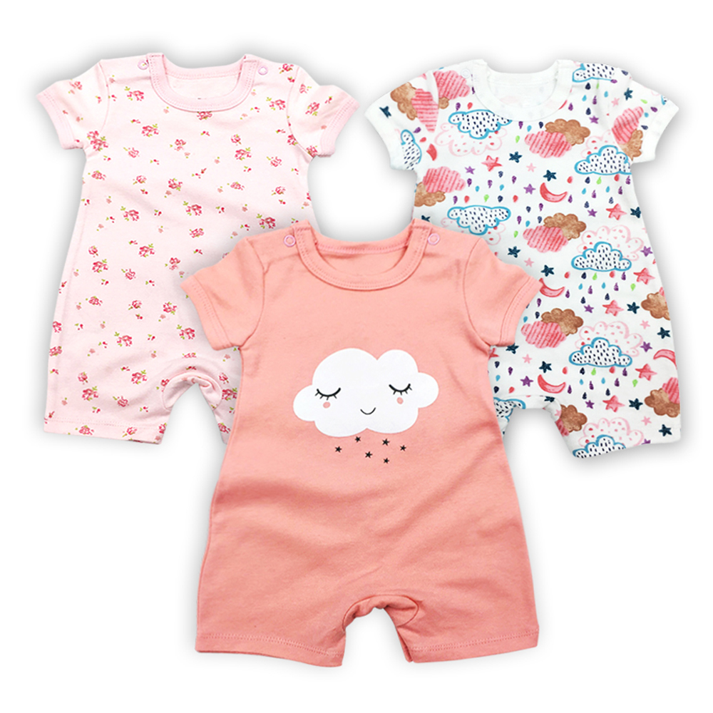 3PCS/LOT Baby Bodysuit Newborn Bebe Girl Clothing 100%Cotton clothes Cute Cartoon Printed Romper Jumpsuit Climbing Clothes цена