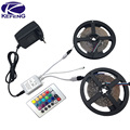 Decoration 5m 10m RGB led strip 3528 SMD 60LEDs/M diode flexible strip LED light Set+RGB remote controller+DC 12V Power Adapter