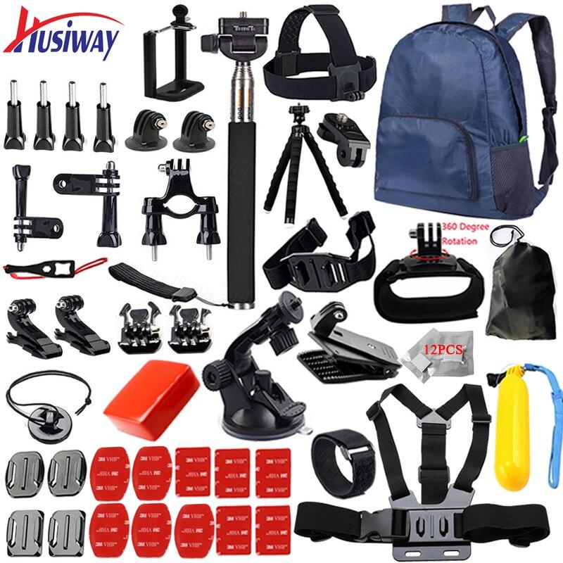 Husiway for Gopro Accessories set for go pro hero 6 5 4 3 kit mount for SJCAM SJ4000 / xiaomi yi camera / eken h9 tripod 14L