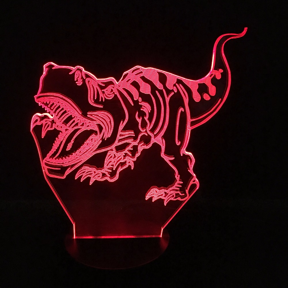 Dinosaur Novelty Touch Switch Desk Light LED Night Light 7 Colorful USB LED Table Acrylic Lamp Home Decor Kids Gifts 3D Lamp