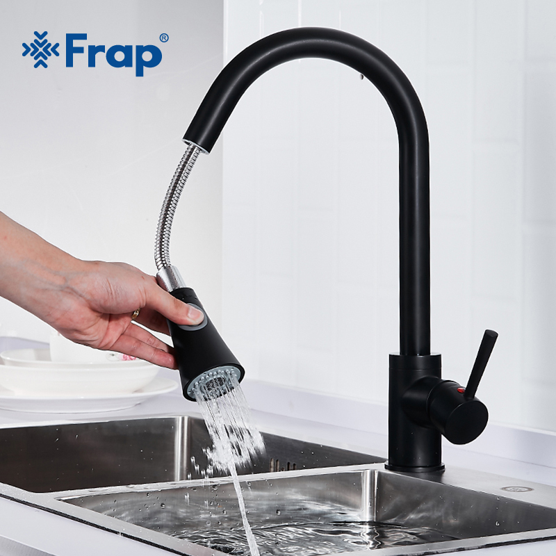 Frap Brass Matte Black Kitchen Sink Faucet Single Handle Taps Pull Out Sprayer Two Ways Spout Kitchen Hot and Cold Water Y40074 preminum black brass single handle pull out sprayer kitchen sink cold hot mixing faucet pull down pull out kitchen faucet