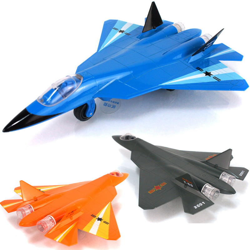 Military Army Fighter Model Toys Russia Fighter T-50 Fighter Aircraft Pull Back Light Sound Toys Alloy Model Children Kids Gifts