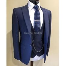 Slim Fit Casual Men Suits 2018 Three Piece Jacket Pants Vest Peaked Lapel Custom Gray Wedding Groom Tuxedos New Male Blazer