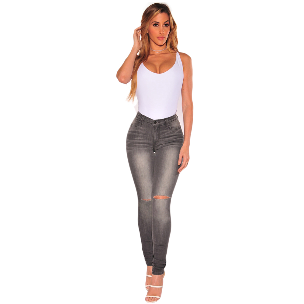 New large size cotton Slim was thin gray washed feet jeans ladies