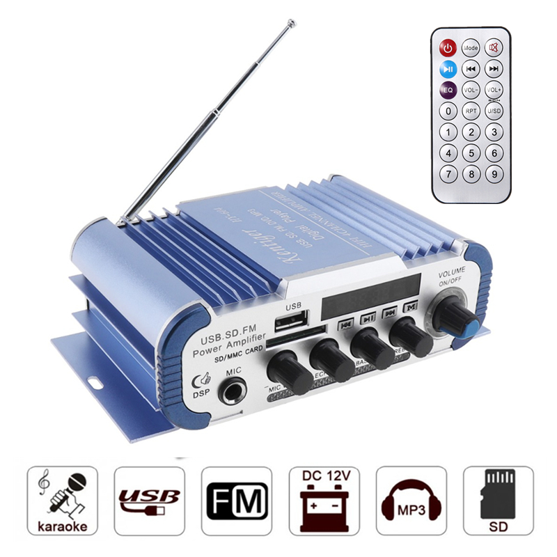Kentiger HY-604 Power 4.0 Channel 4x40W Speaker <font><b>Amplifier</b></font> Support 6.5mm MIC For Karaoke USB SD FM Card Amplificador <font><b>audio</b></font> image