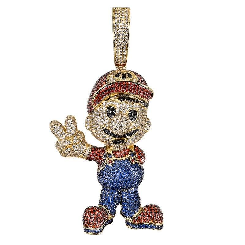 OMYFUN personnalisé Hip Hop Bling dessin animé pendentif or argent couleur cubaine chaîne pendentif et collier CZ glacé fête bijoux accessoire