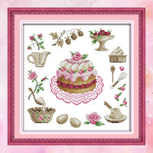 Alegria Domingo kits crossstitch needlework set bolo de aniversário copos 14CT11CT cottonfabric deco pintura arte presente de fábrica por atacado(China)
