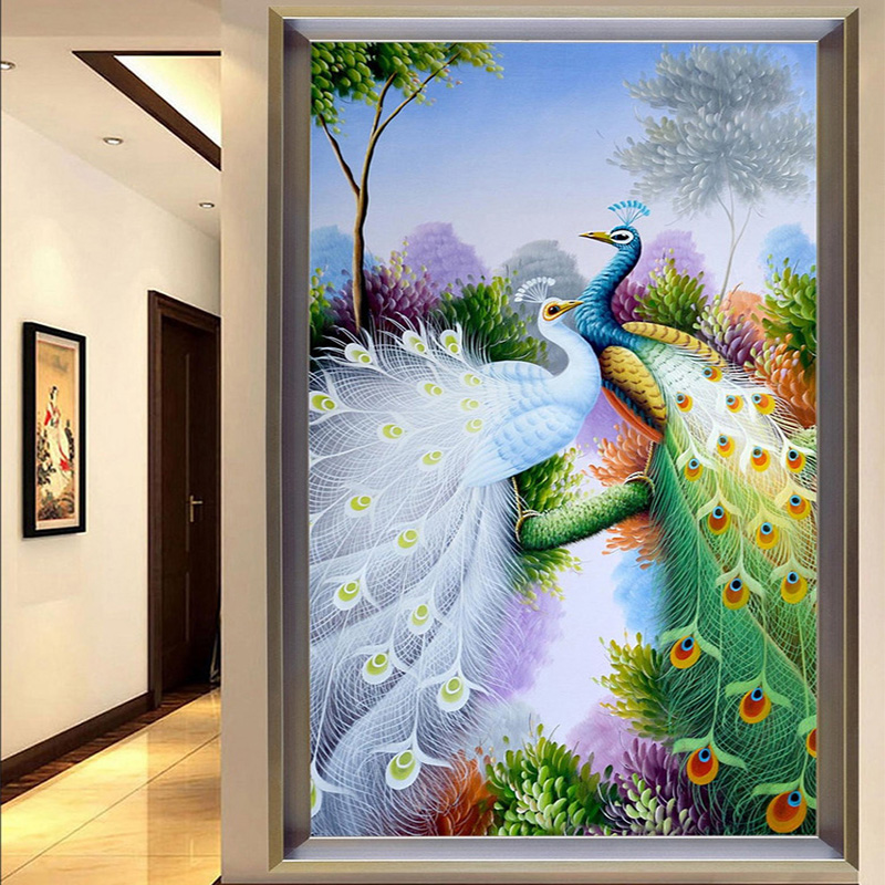 Photo wallpaper color peacock 3d mural hotel lobby living for Hotel wall decor