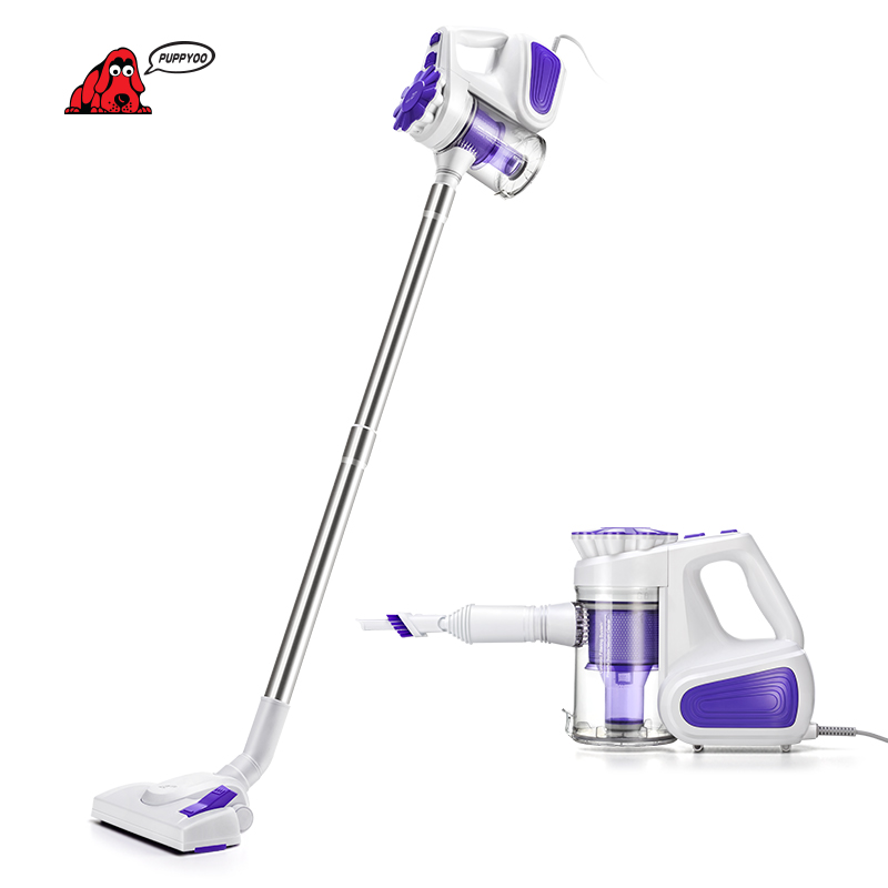 PUPPYOO Low Noise Portable Household Vacuum Cleaner Handheld Dust Collector and Aspirator WP526-C puppyoo multifunctional robotic vacuum cleaner self charge sweep home collector suction led touch screen side brushes v m900r