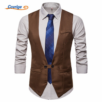 Covrlge Spring Fashion Suit Vest Men Formal Dress English Style Herringbone Sleeveless Jacket Wedding Waistcoat MWX033