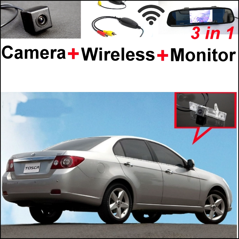 3 in1 Special WiFi Camera + Wireless Receiver + Mirror Monitor DIY Backup Parking System For Daewoo Gentra Kalos Tosca Winstorm wireless pager system 433 92mhz wireless restaurant table buzzer with monitor and watch receiver 3 display 42 call button