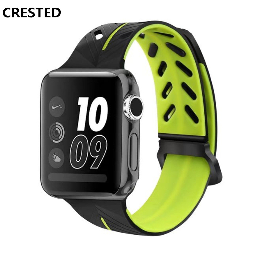 CRESTED sport strap For Apple Watch band 42mm38mm iWatch Series 321 silicone wristband straps Bracelet double color wristbelt