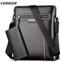 VORMOR Leather Messenger Bags Men Travel Business Crossbody Shoulder Bag for Man Handbags Messenger Small + Wallet 2 Set