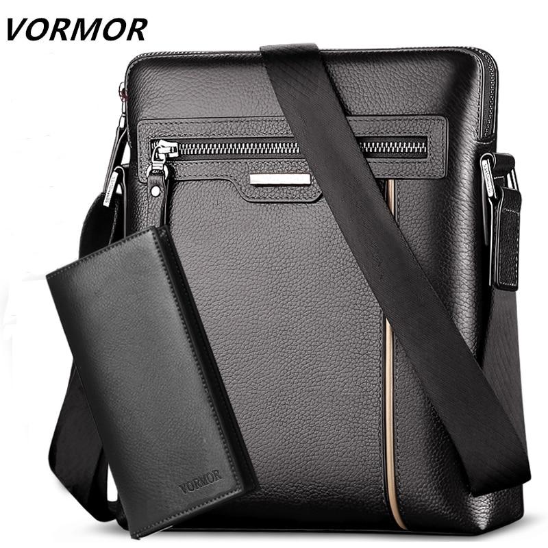 VORMOR Leather Messenger Bags Men Travel Business Crossbody Shoulder Bag for Man Handbags Messenger Small + Wallet 2 Set