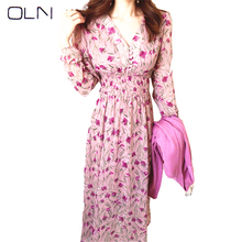 OLN dress Korean vestidos  Autumn new arrival wholesale Stylish sweet V-neck long-sleeved elastic waist long print high quality