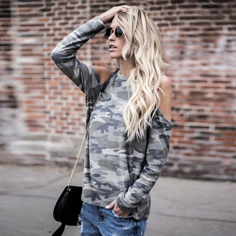 2018 Spring Summer Occident Women Summer Casual Loose Long Sleeve Round Neck Camouflage Tops Ladies T Shirt