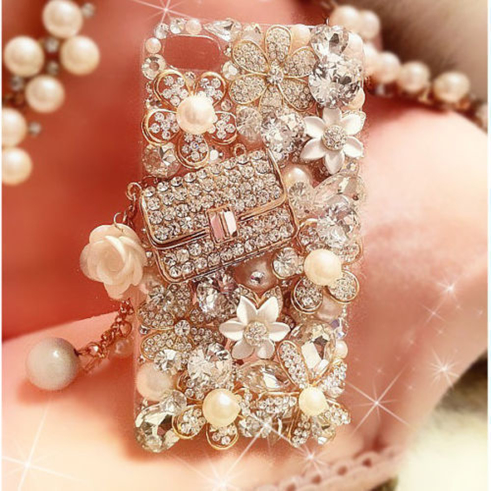 Phone Case Lovely Bling Crystal Diamonds Rhinestone 3D Stones Hard Back Cover For Iphone