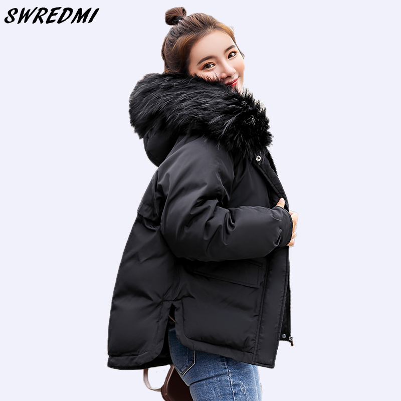 SWREDMI 2019 Casual Loose Parkas Women Winter Coat Down Cotton Padded Short Parkas Hooded Wadded Jackets Black Clothing