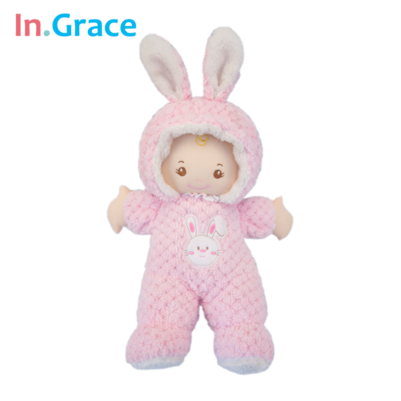 In.Grace super cute pink rabbit baby born dolls sleeping comfort doll soft plush and stuffed baby toys for girls 43CM handmade стоимость