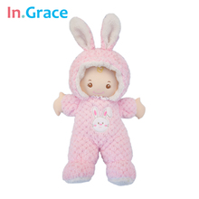 In.Grace super cute pink rabbit baby born dolls sleeping comfort doll soft plush and stuffed baby toys for girls 43CM handmade