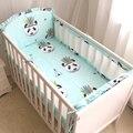 6 шт. Индийский Panda pattern Детская кроватка постельных принадлежностей Воздухопроницаемой Сеткой Кроватки Бампер Кроватки Лайнер Детское Постельное Белье Бамперы Кровать Вокруг протектор