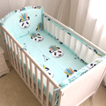6pcs Indian Panda pattern Baby cot bedding set Breathable Mesh Crib Bumper Crib Liner Baby Bedding Bumpers Bed Around Protector